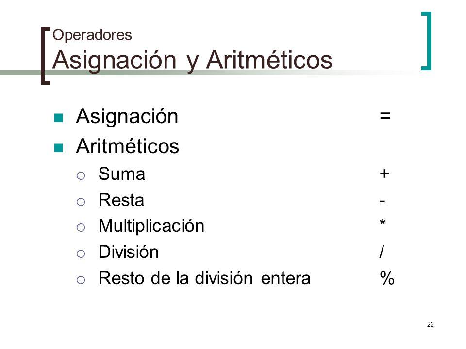 Operadores Asignación y Aritméticos