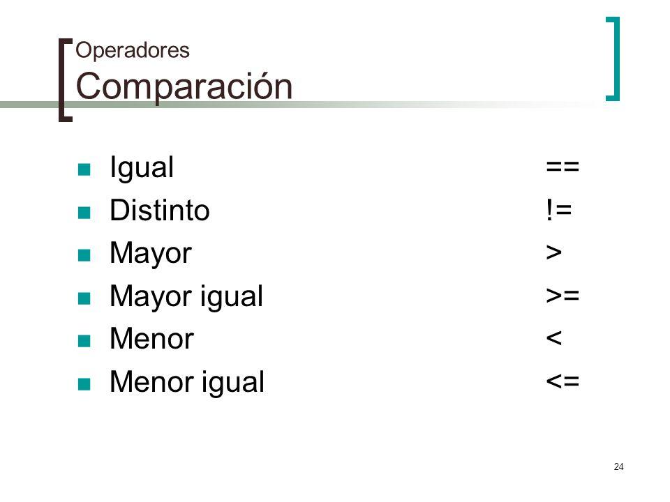 Operadores Comparación