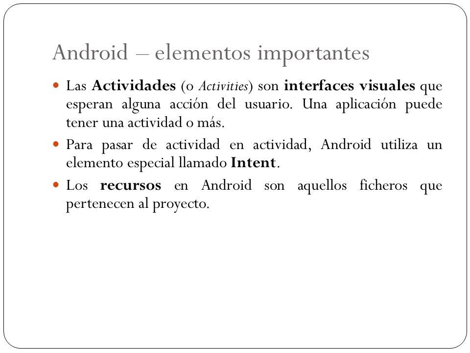 Android – elementos importantes