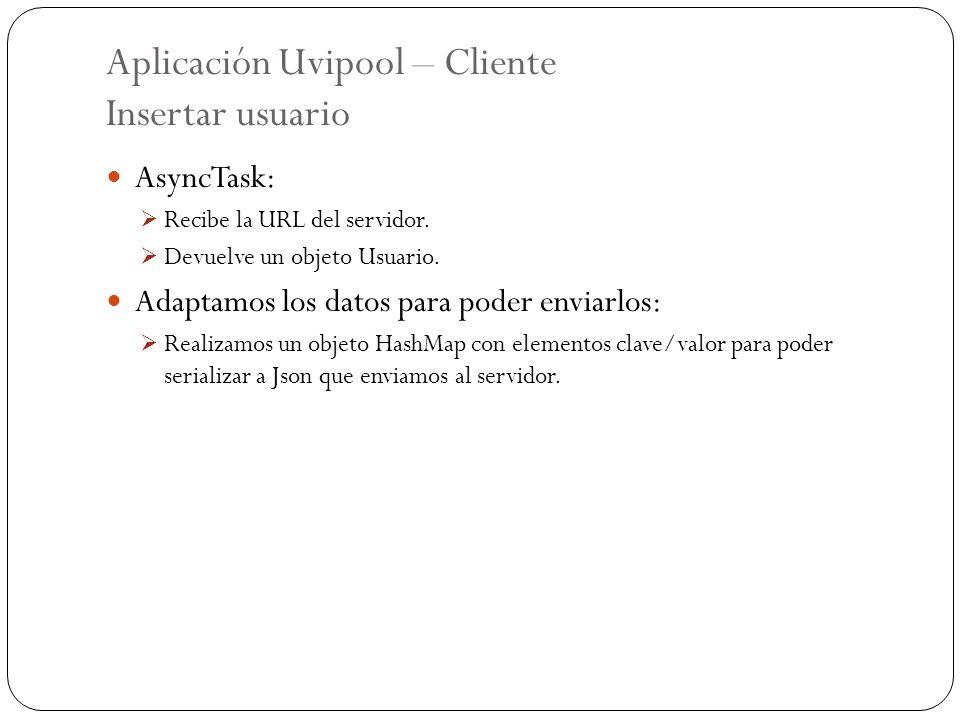 Aplicación Uvipool – Cliente Insertar usuario