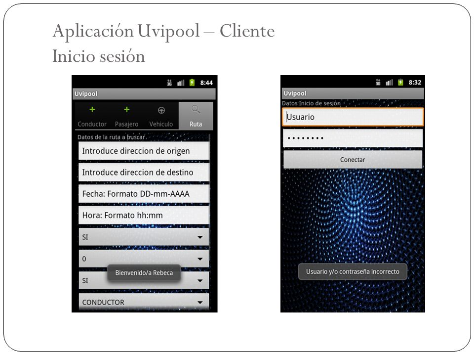 Aplicación Uvipool – Cliente Inicio sesión