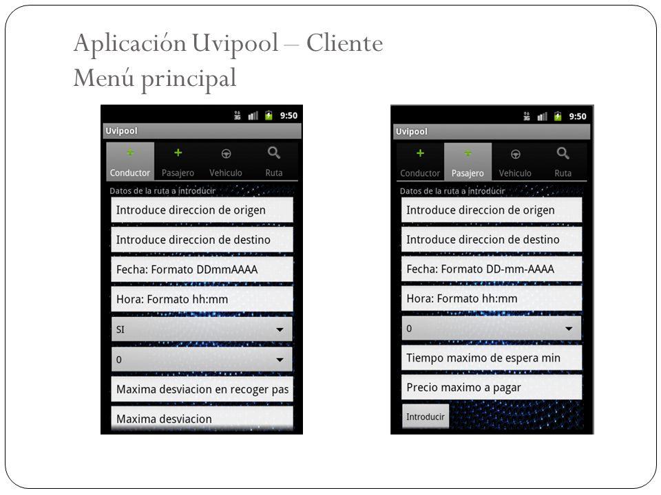 Aplicación Uvipool – Cliente Menú principal