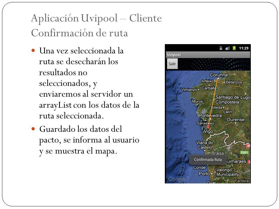 Aplicación Uvipool – Cliente Confirmación de ruta