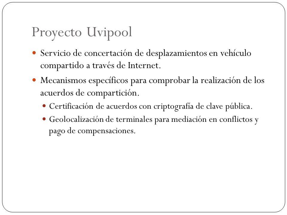 Proyecto Uvipool Servicio de concertación de desplazamientos en vehículo compartido a través de Internet.