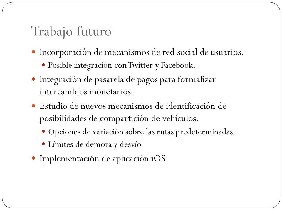 Trabajo futuro Incorporación de mecanismos de red social de usuarios.