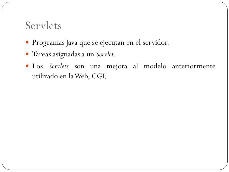 Servlets Programas Java que se ejecutan en el servidor.