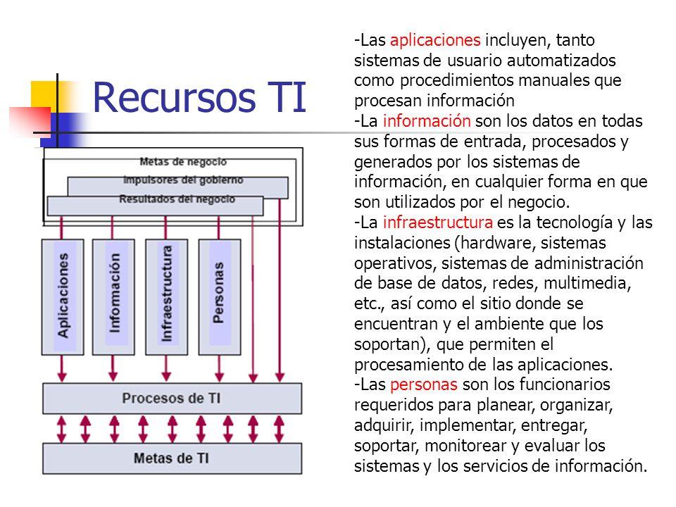 Recursos TI -Las aplicaciones incluyen, tanto sistemas de usuario automatizados como procedimientos manuales que procesan información.