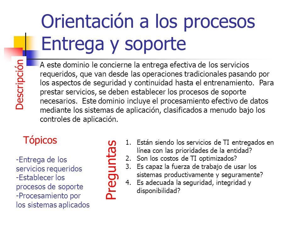 Orientación a los procesos Entrega y soporte