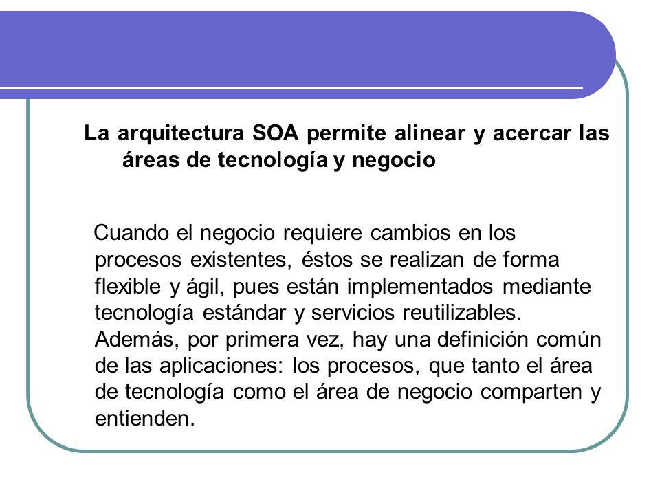 La arquitectura SOA permite alinear y acercar las áreas de tecnología y negocio