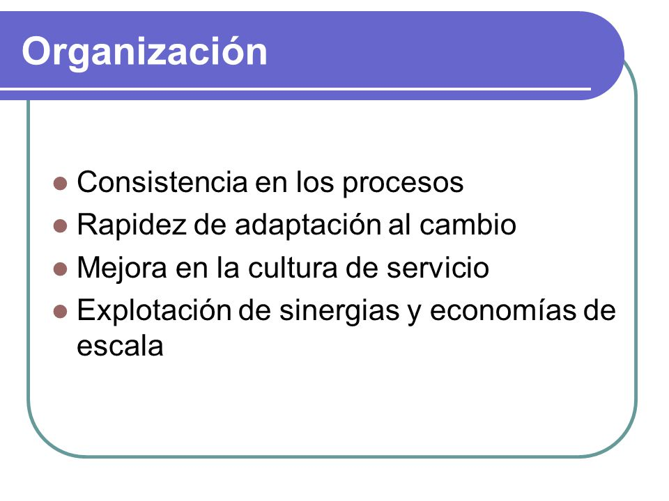 Organización Consistencia en los procesos