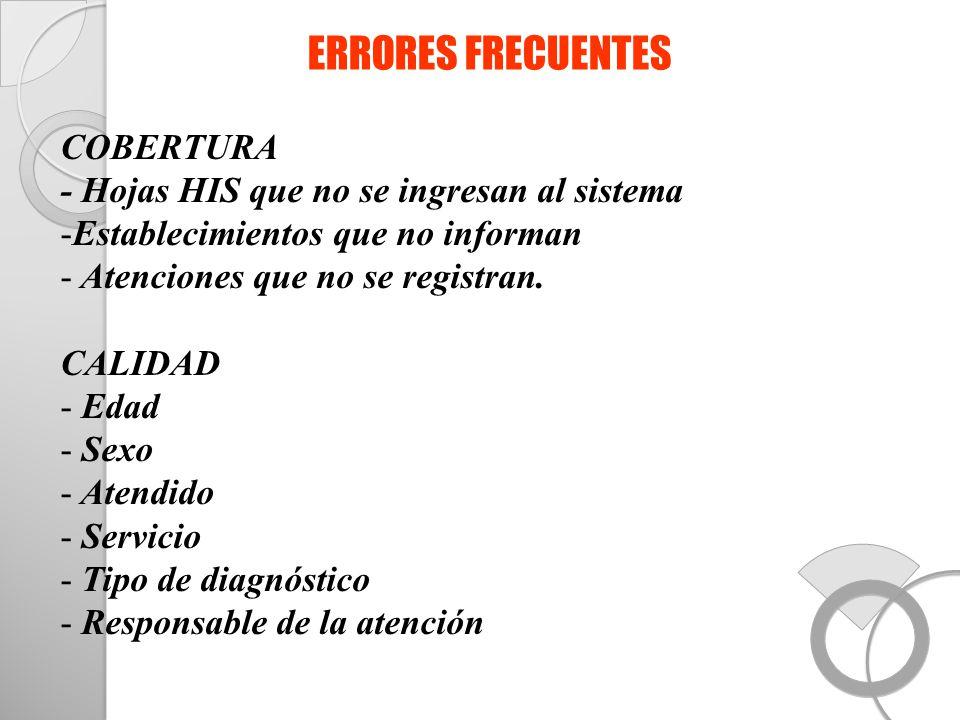 ERRORES FRECUENTES COBERTURA - Hojas HIS que no se ingresan al sistema