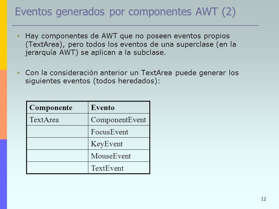 Eventos generados por componentes AWT (2)