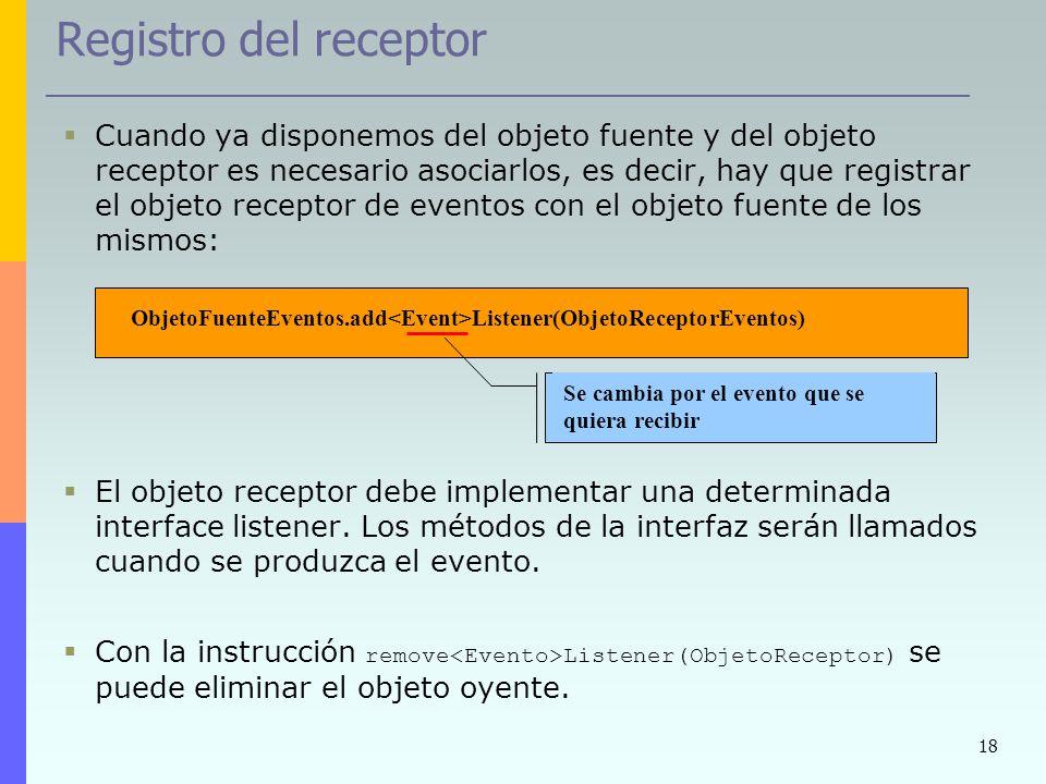 Registro del receptor