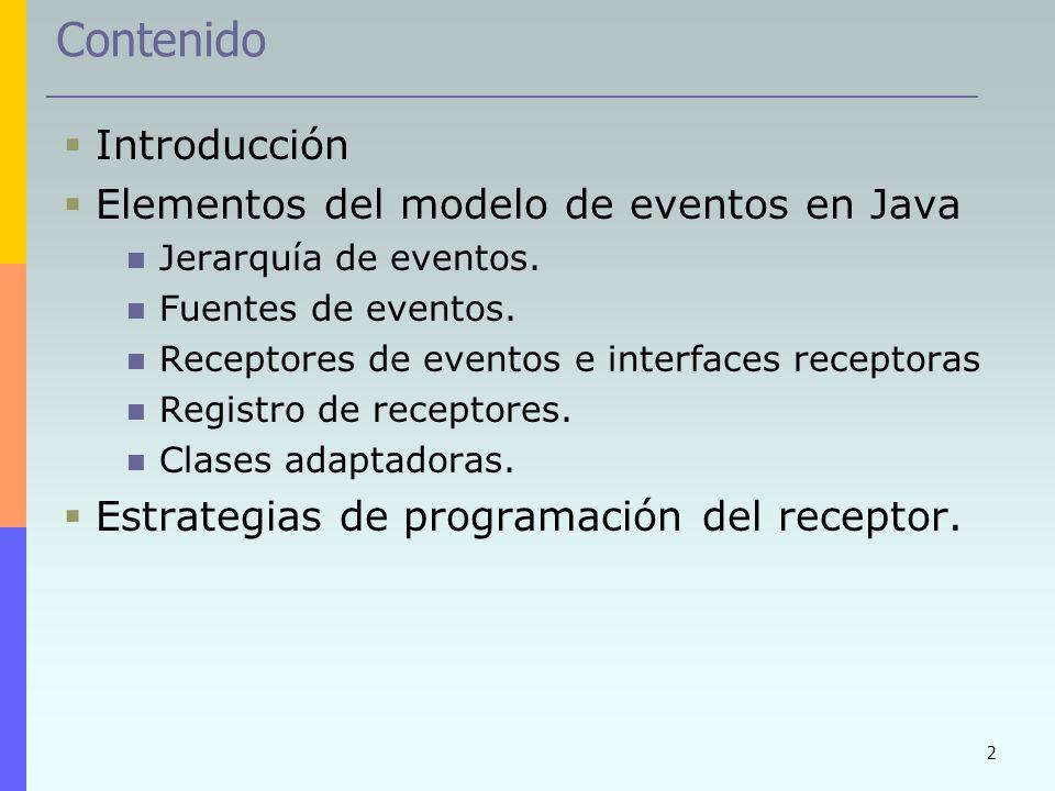 Contenido Introducción Elementos del modelo de eventos en Java