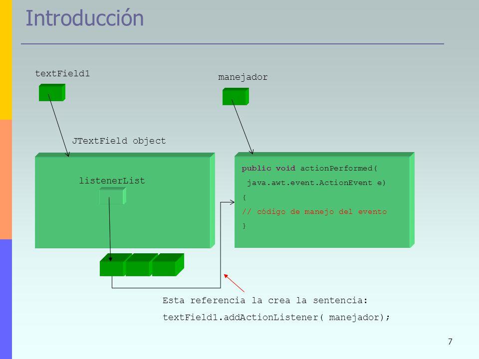 Introducción textField1 manejador JTextField object listenerList