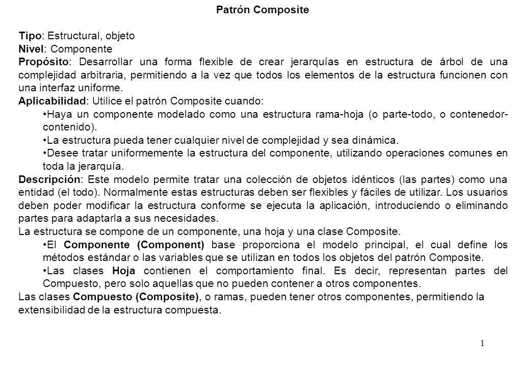Patrón Composite Tipo: Estructural, objeto. Nivel: Componente.