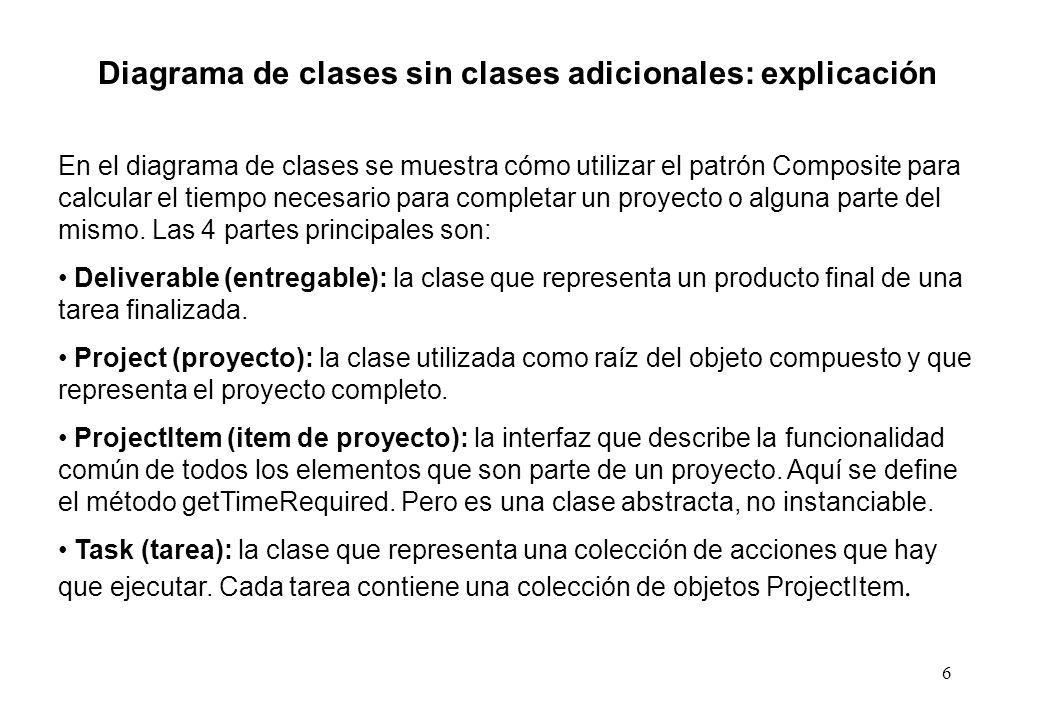 Diagrama de clases sin clases adicionales: explicación