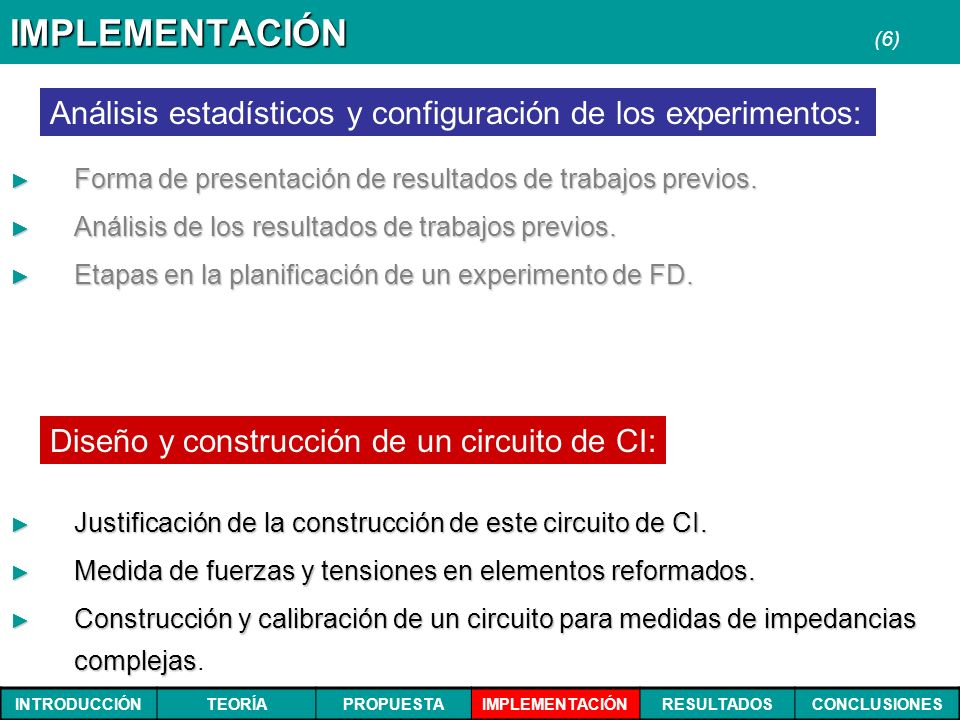 IMPLEMENTACIÓN (6) Análisis estadísticos y configuración de los experimentos: Forma de presentación de resultados de trabajos previos.