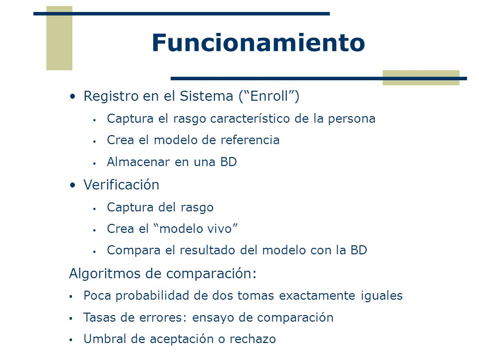 Funcionamiento Registro en el Sistema ( Enroll ) Verificación