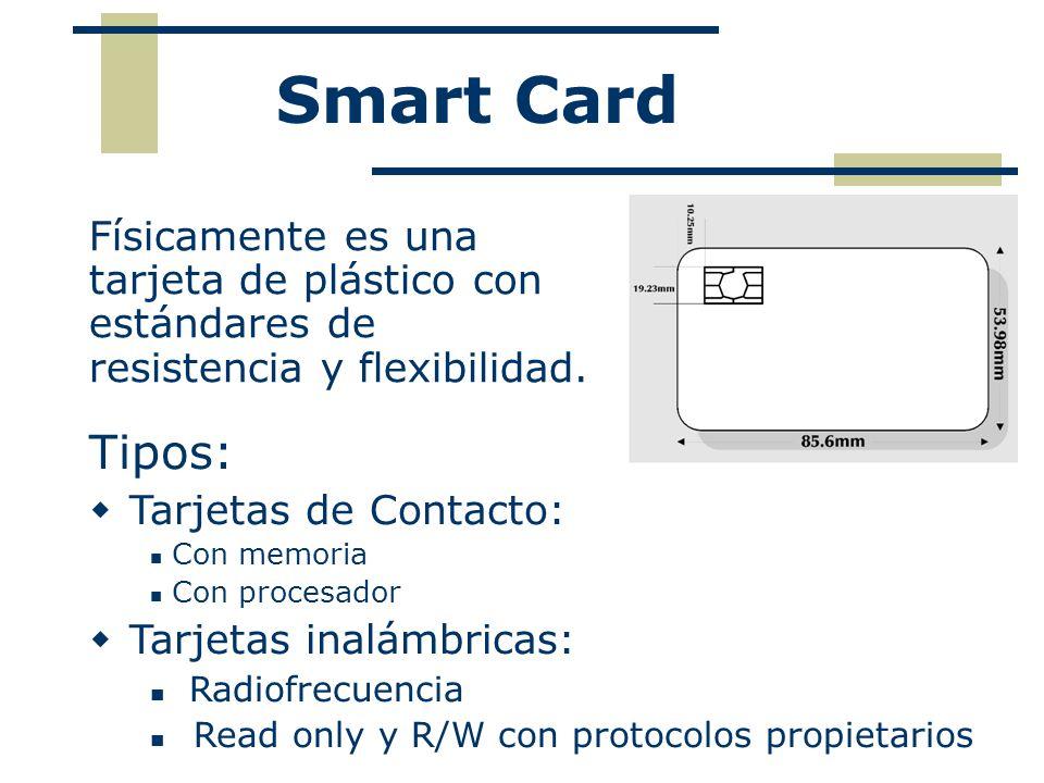 Smart Card Físicamente es una tarjeta de plástico con estándares de resistencia y flexibilidad. Tipos: