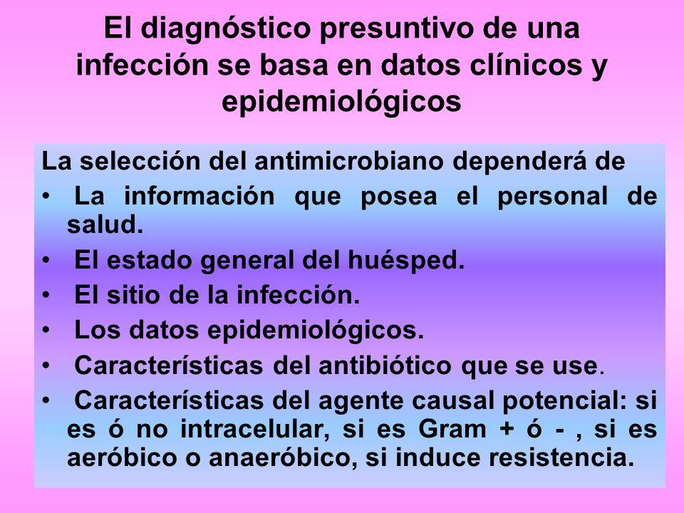 El diagnóstico presuntivo de una infección se basa en datos clínicos y epidemiológicos