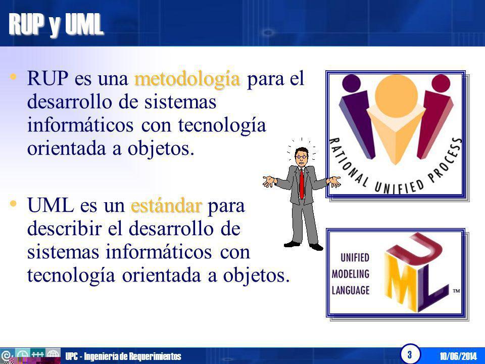 RUP y UML RUP es una metodología para el desarrollo de sistemas informáticos con tecnología orientada a objetos.