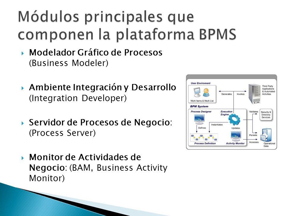 Módulos principales que componen la plataforma BPMS