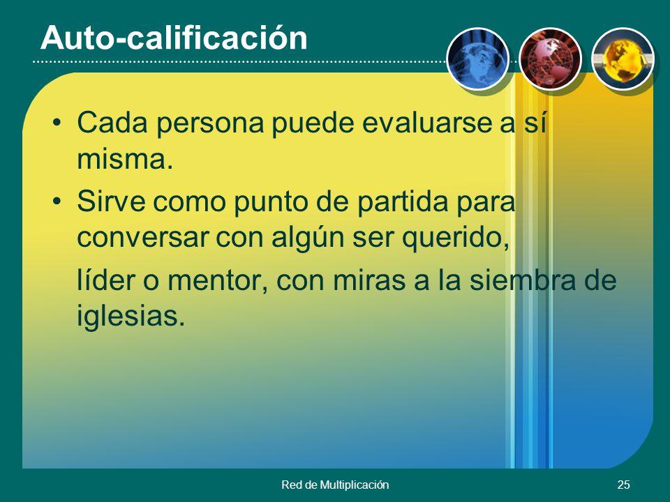 Auto-calificación Cada persona puede evaluarse a sí misma.