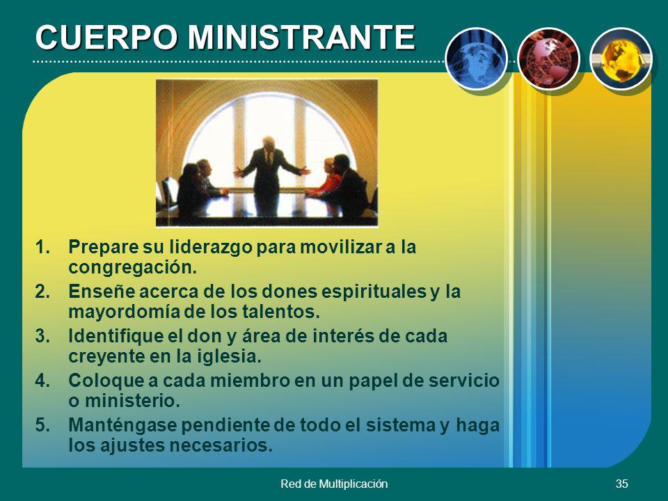 CUERPO MINISTRANTE Prepare su liderazgo para movilizar a la congregación. Enseñe acerca de los dones espirituales y la mayordomía de los talentos.