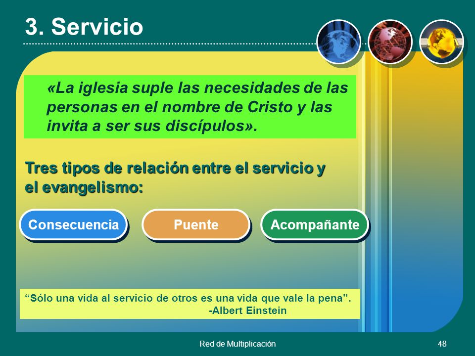 3. Servicio «La iglesia suple las necesidades de las personas en el nombre de Cristo y las invita a ser sus discípulos».