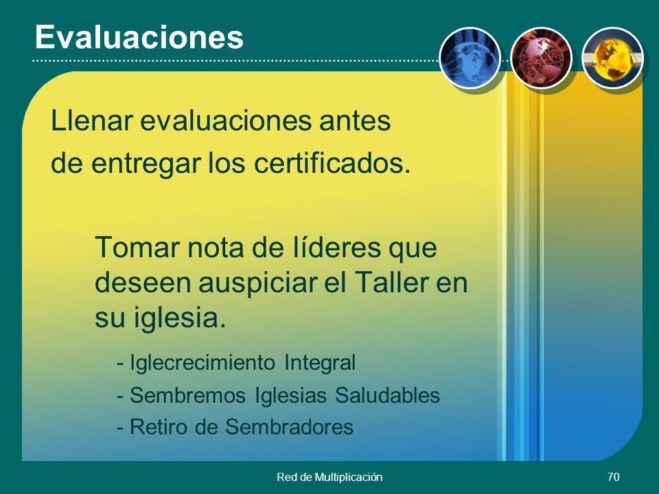 Evaluaciones Llenar evaluaciones antes de entregar los certificados.