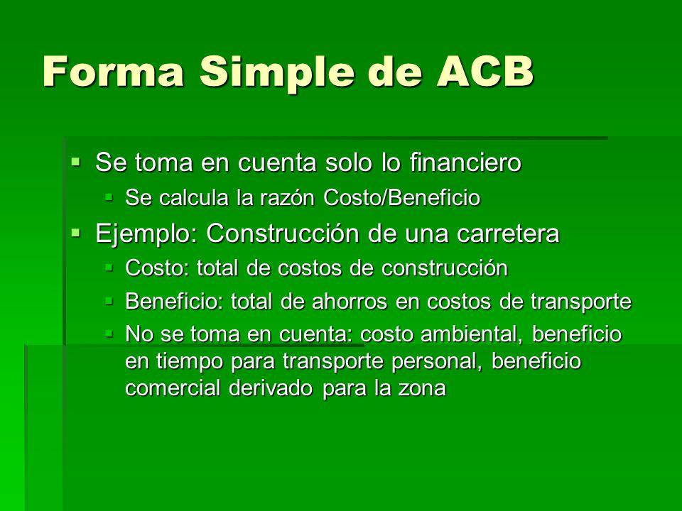 Forma Simple de ACB Se toma en cuenta solo lo financiero