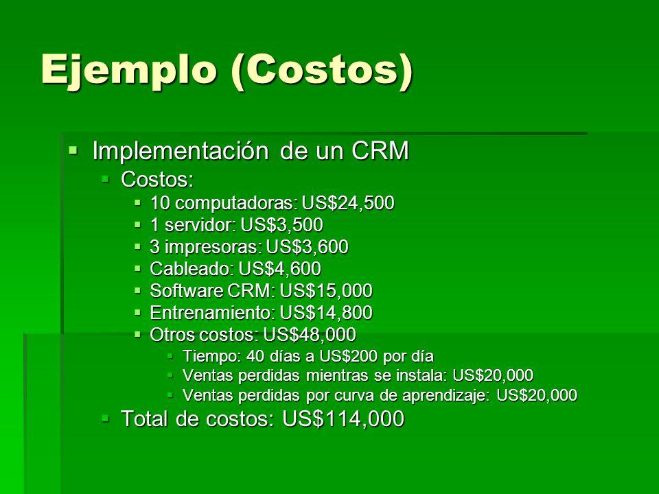 Ejemplo (Costos) Implementación de un CRM Costos: