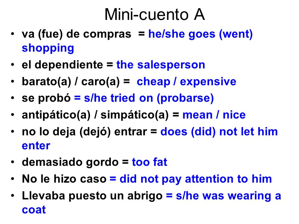 Mini-cuento A va (fue) de compras = he/she goes (went) shopping