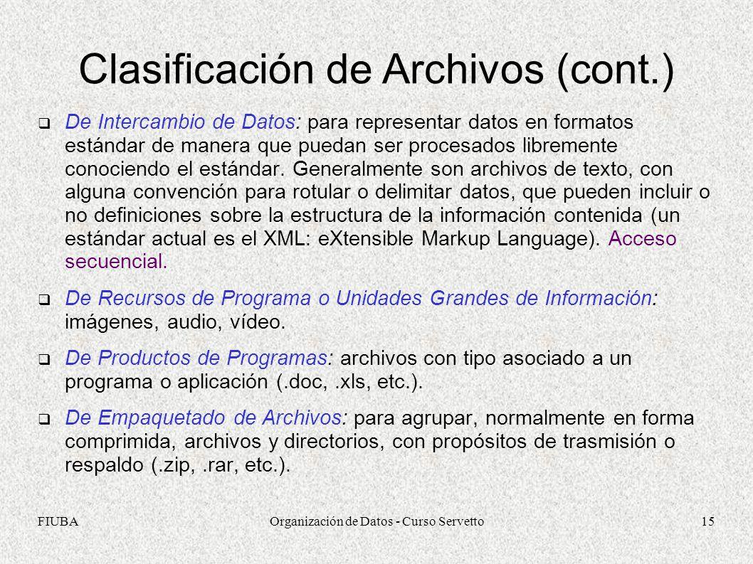Clasificación de Archivos (cont.)