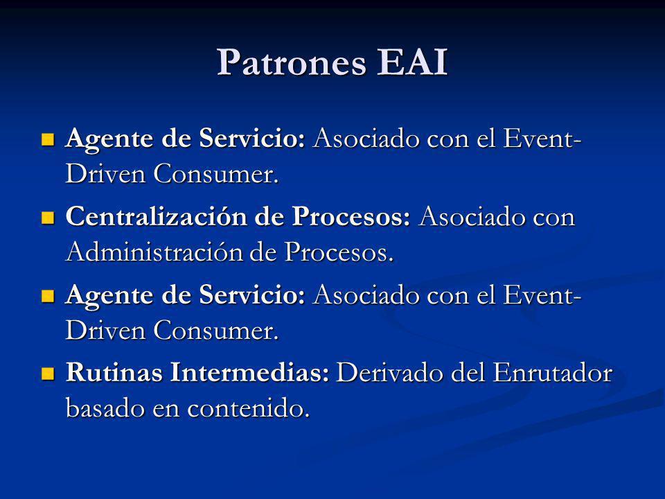Patrones EAI Agente de Servicio: Asociado con el Event-Driven Consumer. Centralización de Procesos: Asociado con Administración de Procesos.