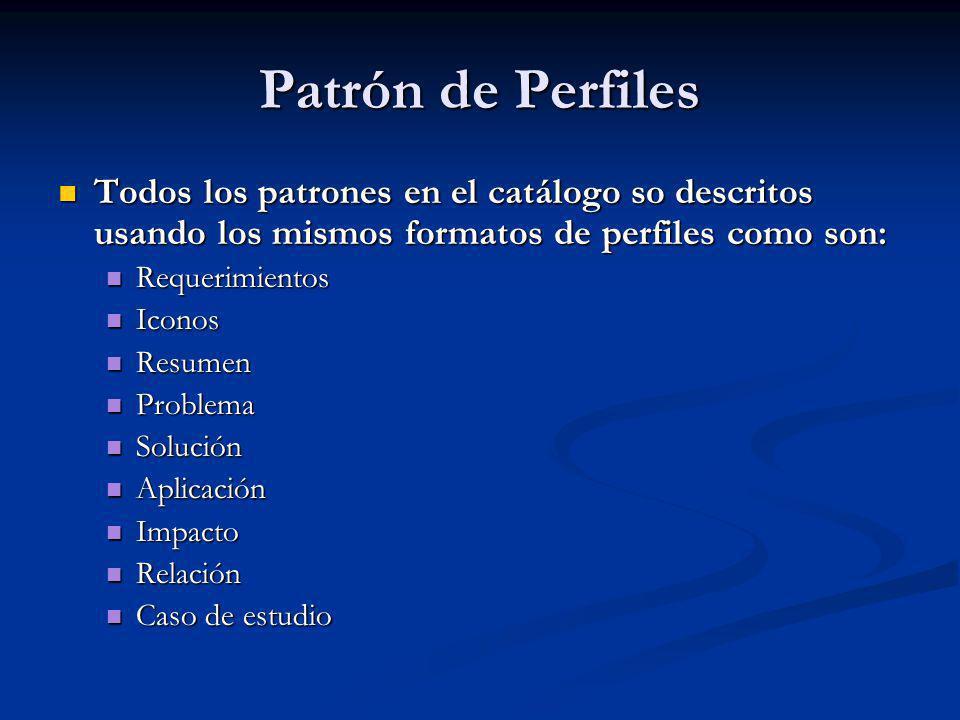 Patrón de Perfiles Todos los patrones en el catálogo so descritos usando los mismos formatos de perfiles como son:
