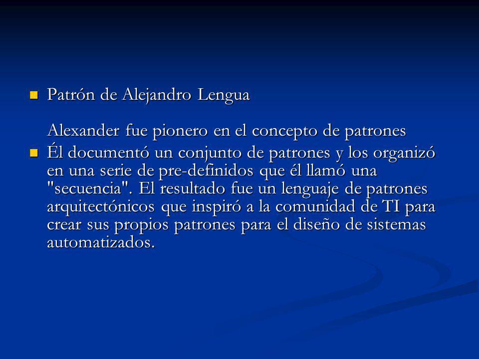 Patrón de Alejandro Lengua Alexander fue pionero en el concepto de patrones