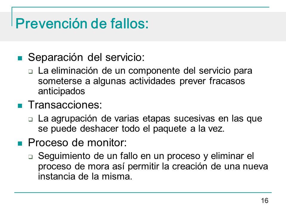 Prevención de fallos: Separación del servicio: Transacciones: