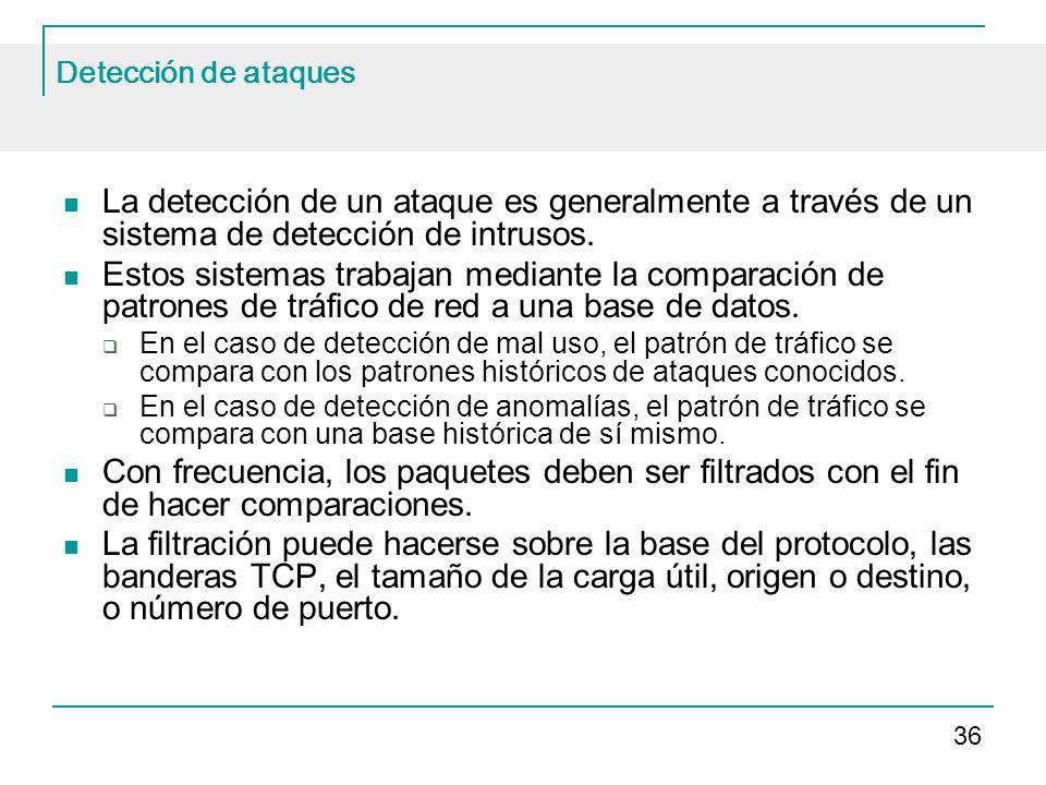 Detección de ataques La detección de un ataque es generalmente a través de un sistema de detección de intrusos.