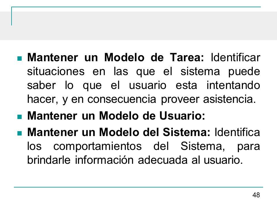 Mantener un Modelo de Tarea: Identificar situaciones en las que el sistema puede saber lo que el usuario esta intentando hacer, y en consecuencia proveer asistencia.