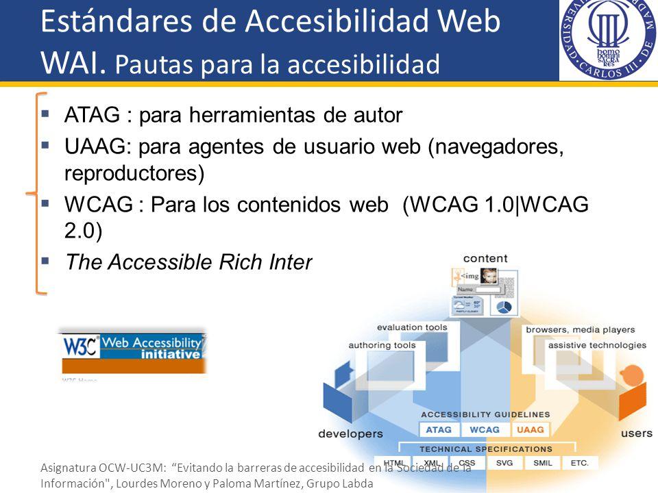 Estándares de Accesibilidad Web WAI. Pautas para la accesibilidad