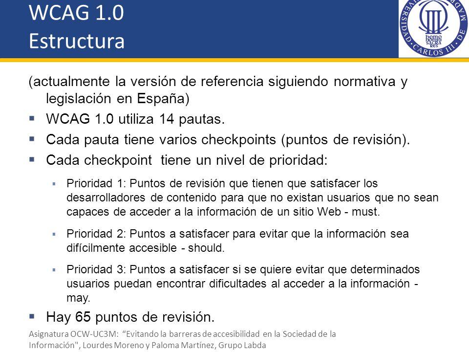 WCAG 1.0 Estructura (actualmente la versión de referencia siguiendo normativa y legislación en España)