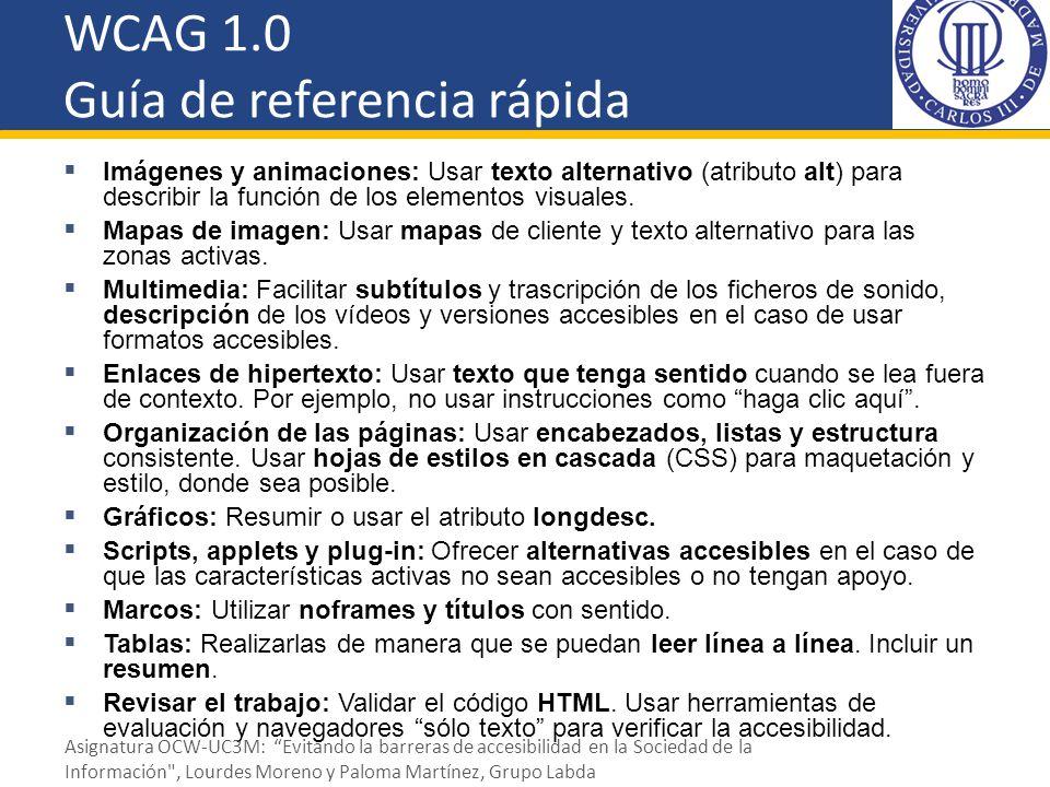 WCAG 1.0 Guía de referencia rápida