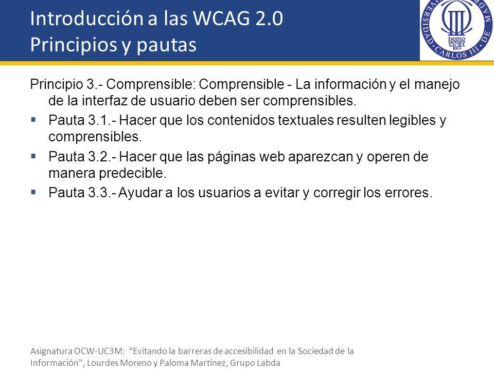 Introducción a las WCAG 2.0 Principios y pautas