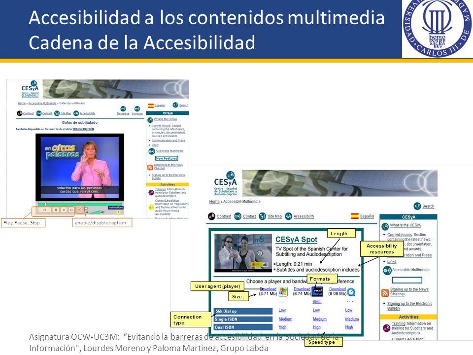 Accesibilidad a los contenidos multimedia Cadena de la Accesibilidad
