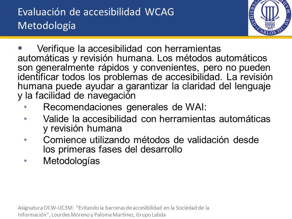 Evaluación de accesibilidad WCAG Metodología