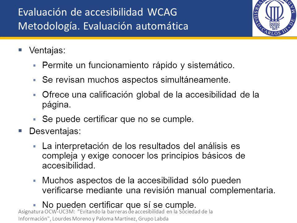 Evaluación de accesibilidad WCAG Metodología. Evaluación automática