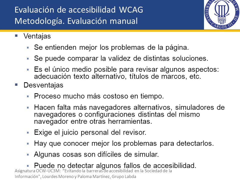 Evaluación de accesibilidad WCAG Metodología. Evaluación manual
