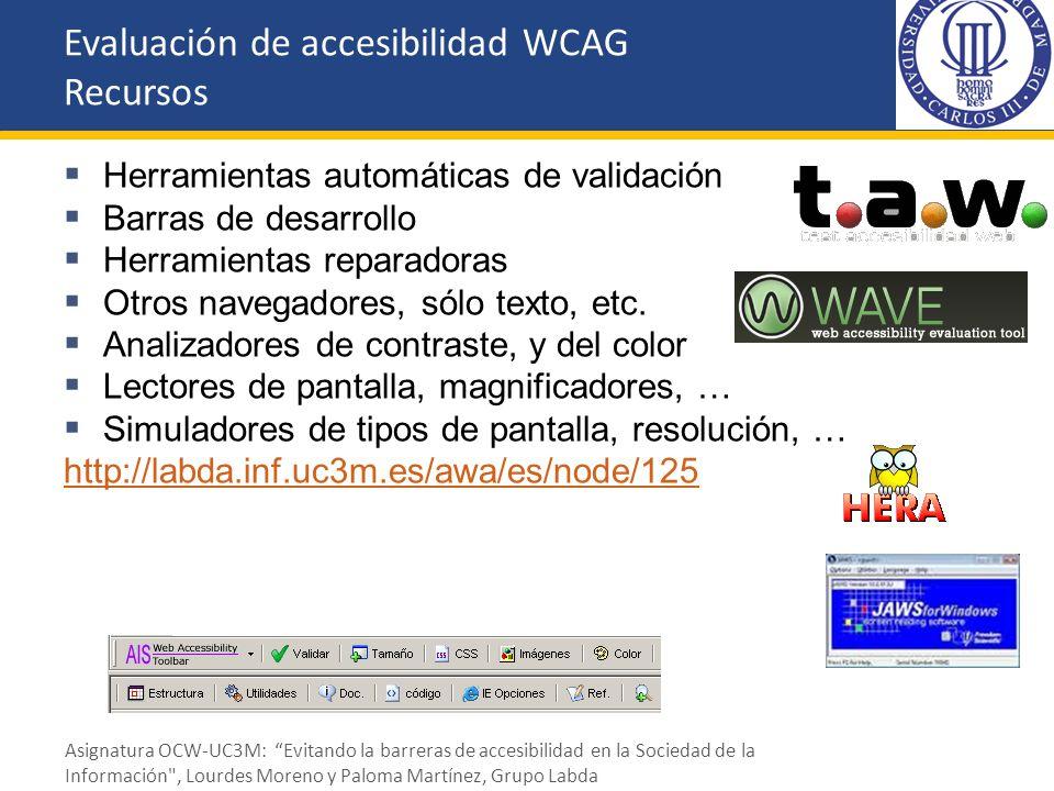 Evaluación de accesibilidad WCAG Recursos